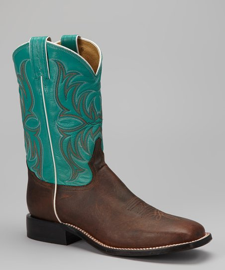 Dark Tan & Blue Pointeggio Cowboy Boot - Men