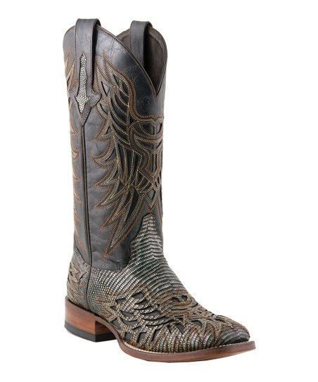 Black & Silver Lizard Laser-Cut Cowboy Boot - Men