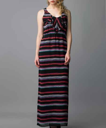 Pink & Black Stripe Ruffle Maxi Dress