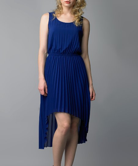 Marina Blue Pleated Hi-Low Dress