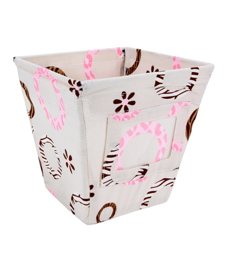 Sweet Safari Pink Small Fabric Storage Bin