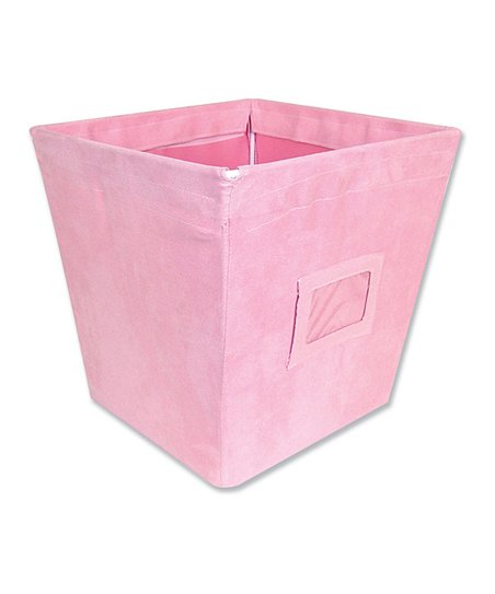 Pink Ultra Suede Medium Fabric Storage Bin