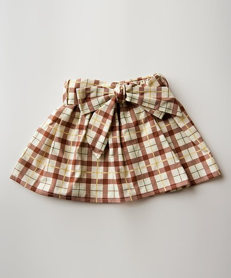 Brown &amp; Khaki Plaid Cooper Skirt - Infant &amp; Toddler