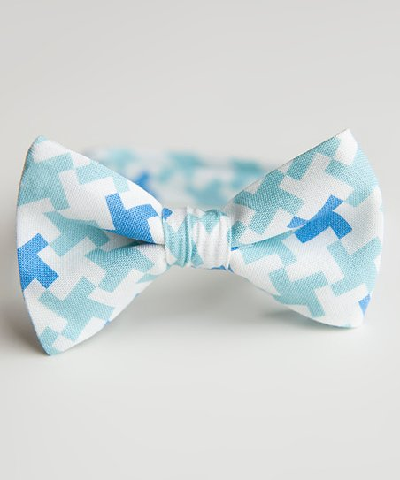 Blue & White Houndstooth Miles Bow Tie