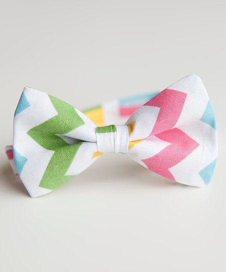 Blue & Yellow Spring Chevron Bow Tie