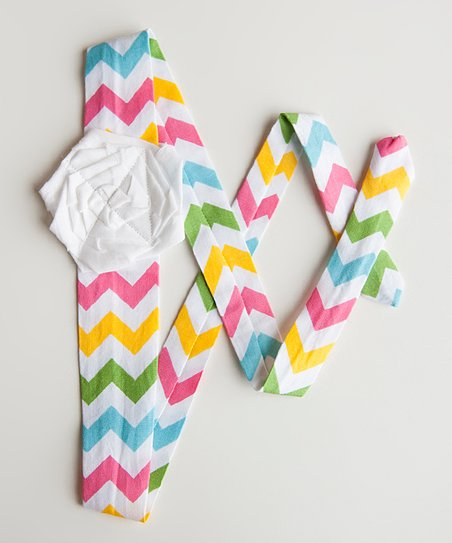 Blue & Yellow Spring Chevron Sash