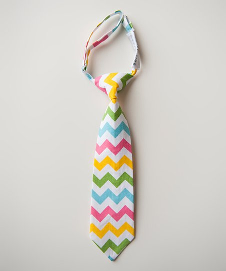 Blue & Yellow Spring Chevron Tie
