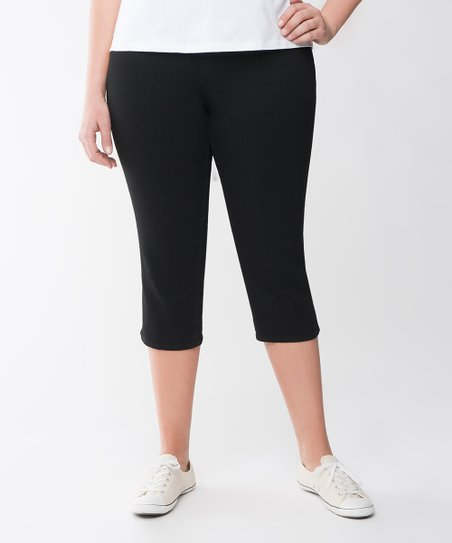 Black Plus-Size Capri Jeggings