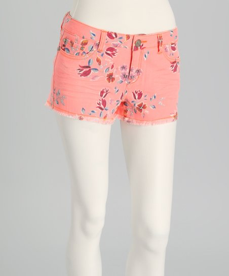 Orange Rinse Denim Floral Shorts