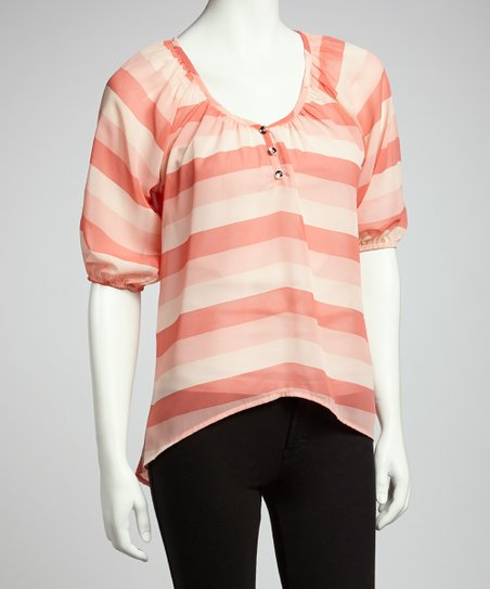 Coral Stripe Hi-Low Top