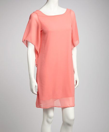 Coral Angel-Sleeve Dress
