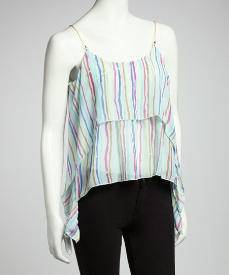 Blue Stripe Sidetail Sleeveless Top