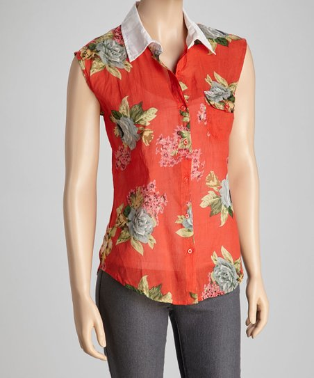 Red & Pink Garden Bloom Sleeveless Button-Up