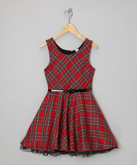 Red Plaid Belted A-Line Dress