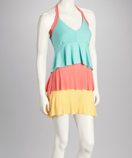 Turquoise & Pink Color Block Halter Dress