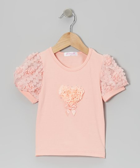Peach Rosette Heart Top - Infant