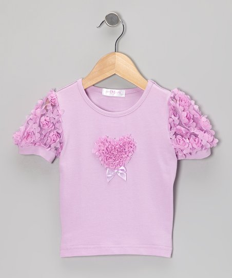 Purple Rosette Puff-Sleeve Top - Infant