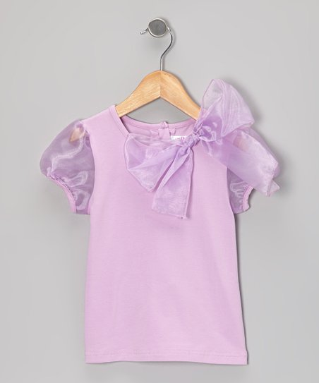 Purple Organza Bow Puff-Sleeve Top - Infant, Toddler & Girls