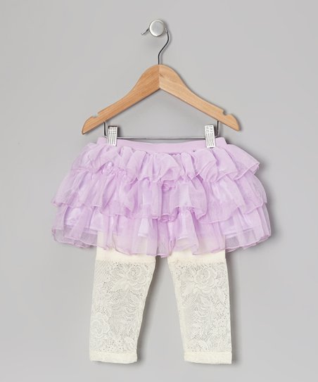 Purple Lace Tulle Skirted Leggings - Infant, Toddler & Girls