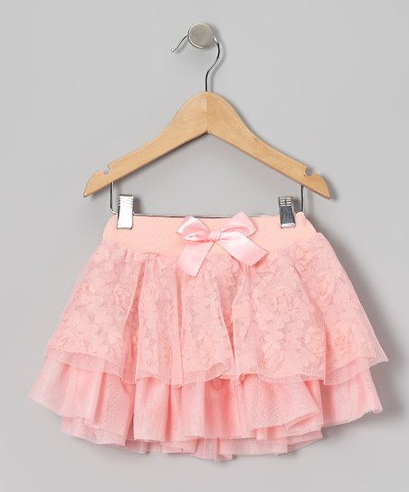 Peach Rosette Tiered Skirt - Infant, Toddler & Girls
