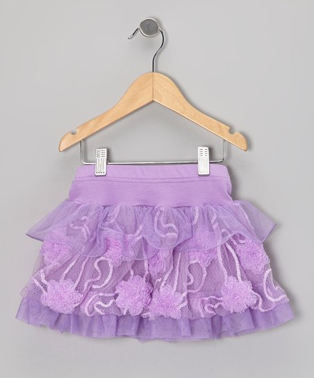 Purple Floral Tulle Tiered Skirt - Infant