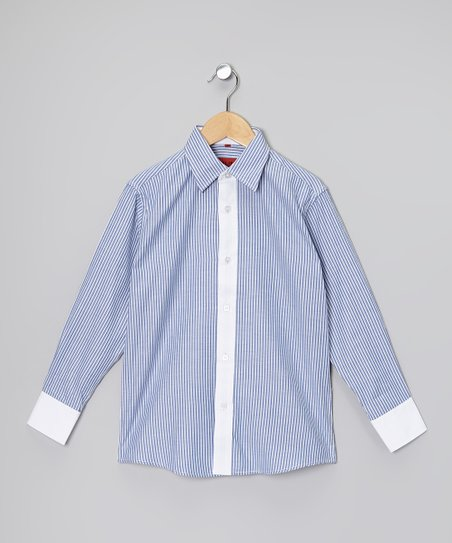 Blue & White Stripe Button-Up - Boys