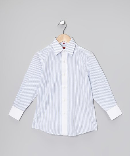 Light Blue & White Stripe Button-Up - Toddler & Boys
