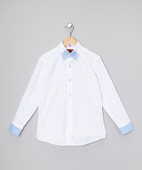 White & Blue Button-Up - Toddler & Boys