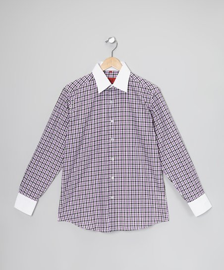 Purple & White Plaid Button-Up - Toddler & Boys
