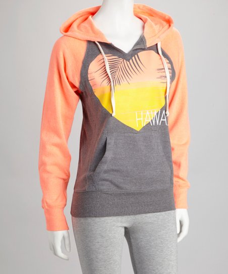 Orange 'Hawaii' Raglan Hoodie