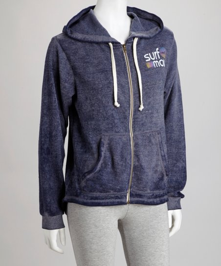 Navy Burnout Zip-Up Hoodie