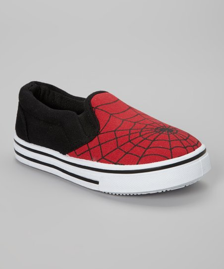 Red & Black Spider Web Slip-On Sneaker