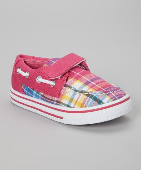 Peach & Pink Plaid Slip-On Sneaker