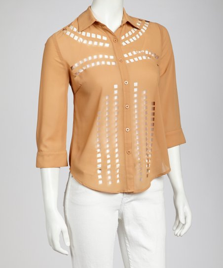 Camel Cutout Button-Up