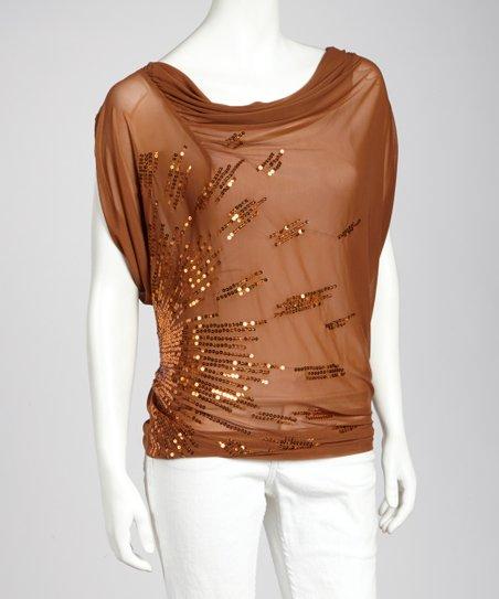 Rust Drain Sequin Drape Top - Women