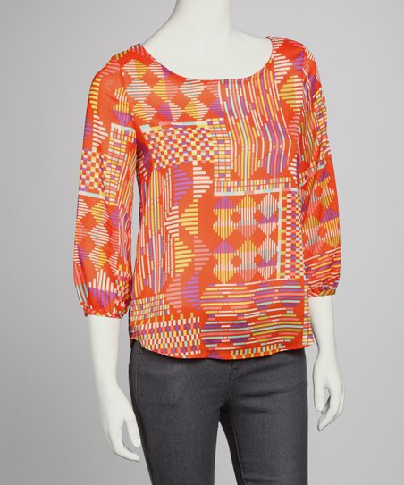 Orange Abstract Three-Quarter Sleeve Top