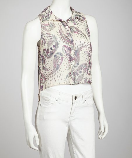 White Paisley Print Sleeveless Button-Up