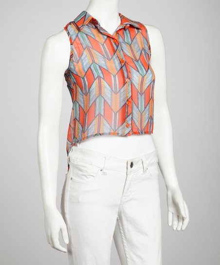 Orange Tribal Sleeveless Button-Up