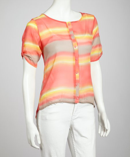 Coral & Yellow Tie-Dye Button-Up Top