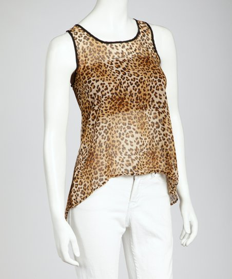 Brown Leopard Open-Back Tank