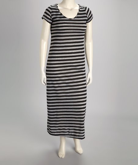 Gray & Black Stripe Maxi Dress - Plus