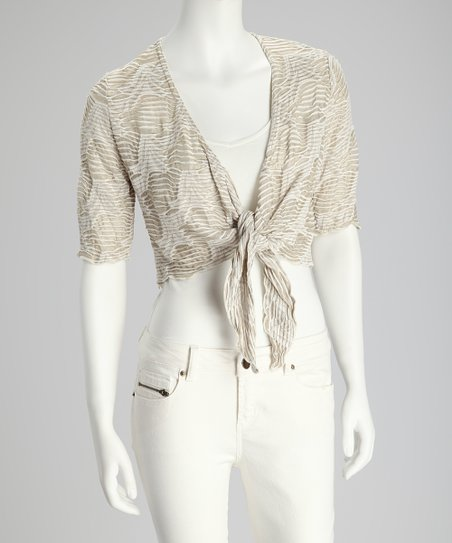 Taupe Web Tie-Front Crop Top - Women
