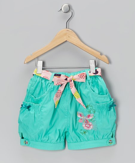 Teal Green Embroidered Belted Shorts - Infant, Toddler & Girls