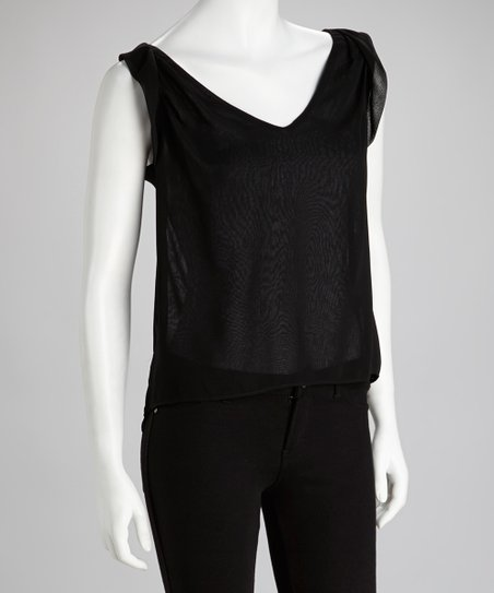 Black Sleeveless Hi-Low Top