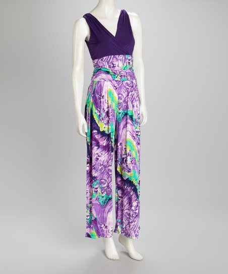Purple Print Jumpsuit