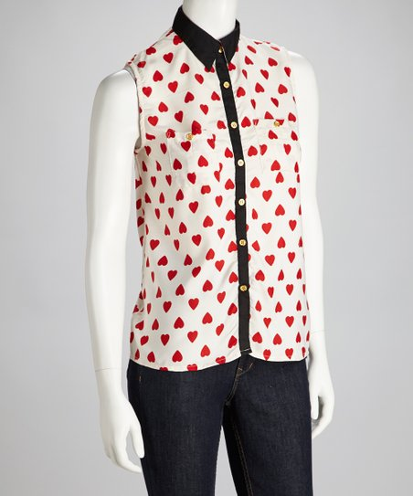Red & White Heart Sleeveless Button-Up