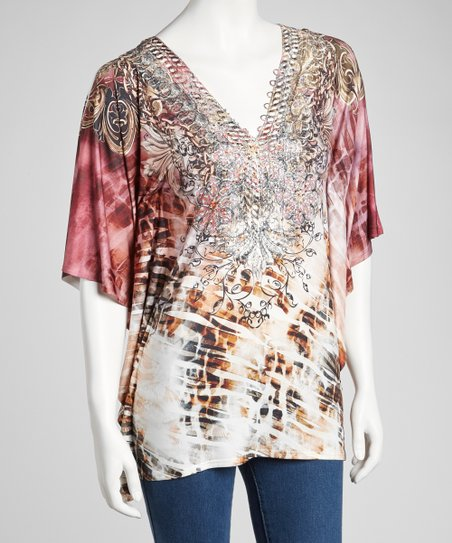 Cranberry Sublimation Angel-Sleeve Top