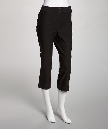 Jet Black Stretch Capri Pants - Women
