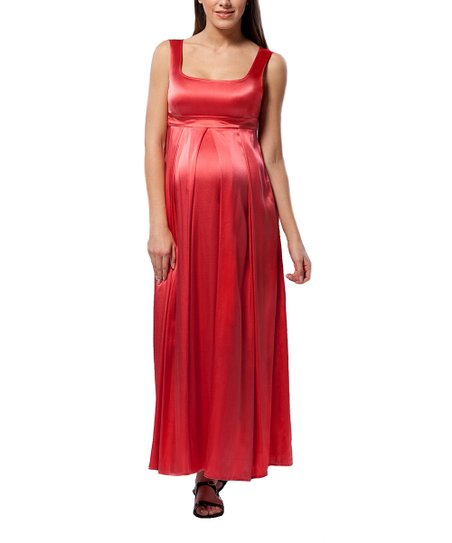 Washed Red Pleated Silk-Blend Maternity Maxi Dress