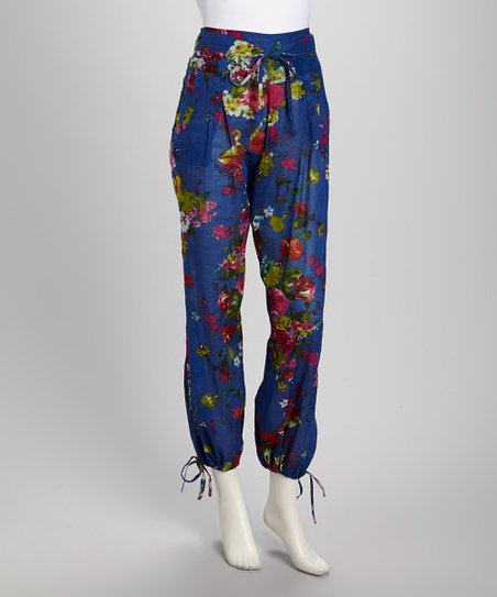 Royal Blue & Pink Floral Patchwork Pants - Women